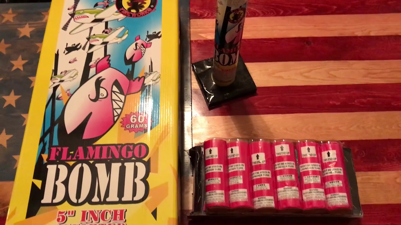 Flamingo Bombs canister shells by Fowl fireworks 5 inch 6