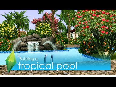The sims 3 building tropical pool youtube for Pool designs sims 4