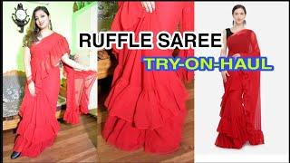 TIKHI IMLI RED RUFFLE SAREE TRY ON HAUL/MYNTRA RUFFLE SAREE REVIEW IN HINDI/AFFORDABLE RUFFLE SAREE