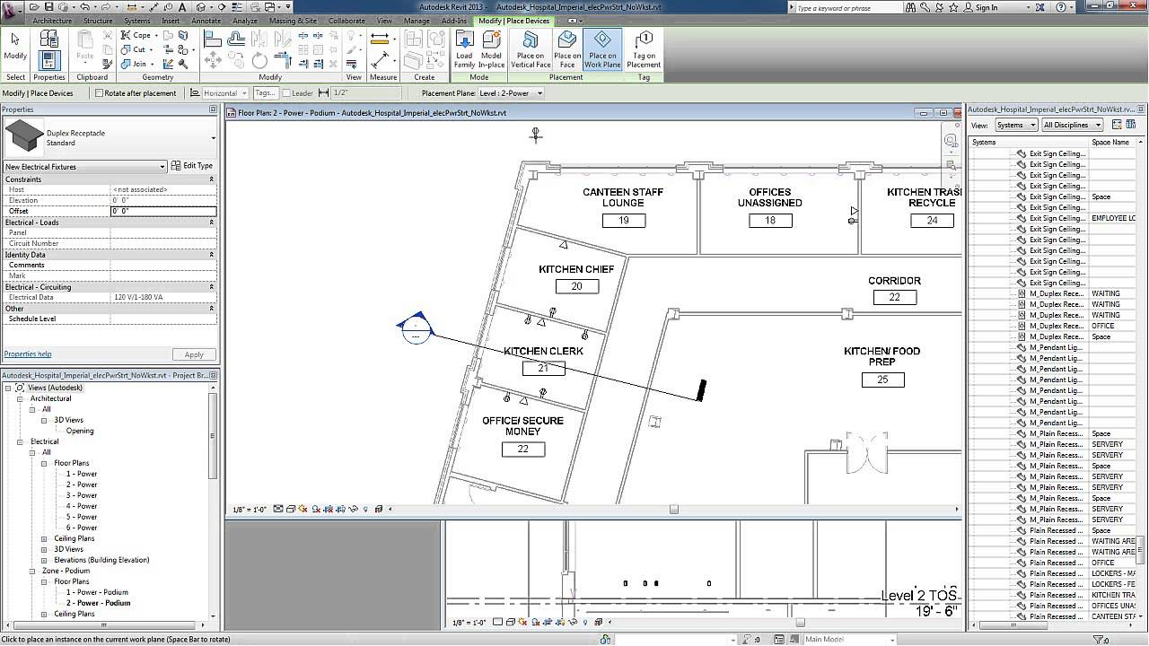 Revit for MEP - Electrical Power Systems - Receptacles - YouTube