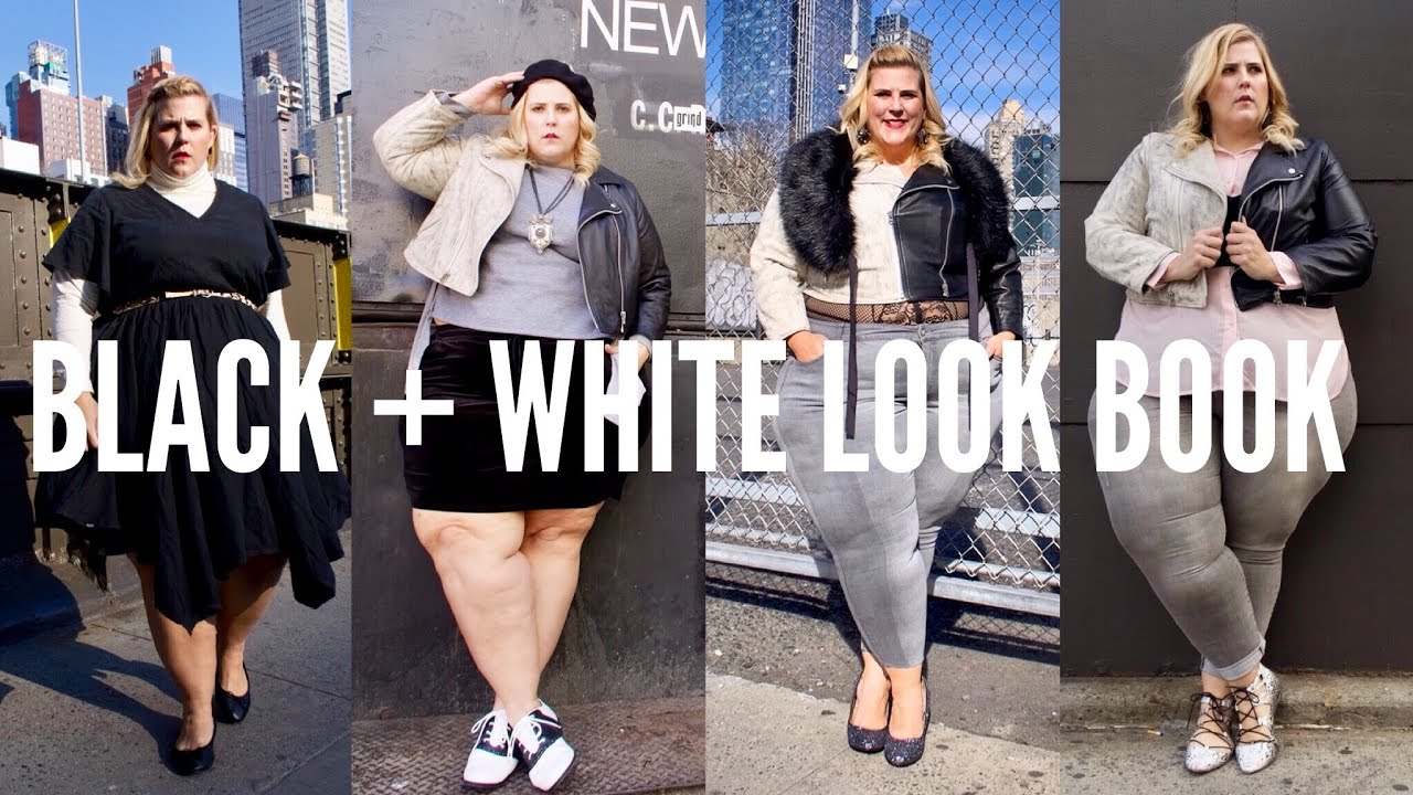 6fc3f532a31d9 Plus Size Black and White Look Book - YouTube