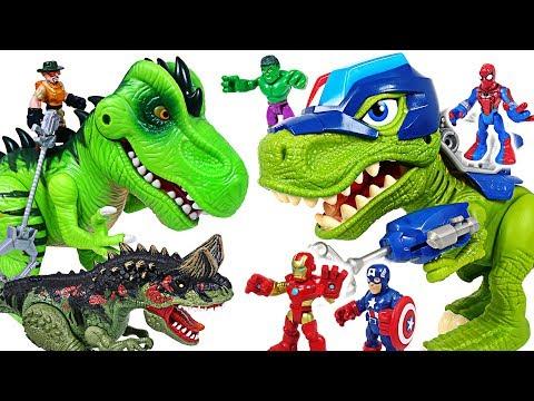 Minions were capture by dinosaur! Marvel Avengers Spider Man & Police dinosaur! Go!- DuDuPopTOY