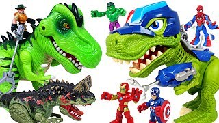 Minions were capture by dinosaur! Marvel Avengers Spider Man & Police dinosaur! Go!- DuDuPopTOY thumbnail
