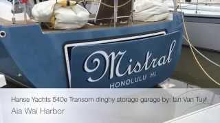 Hanse Yachts 540e Transom dinghy storage garage by: Ian Van Tuyl