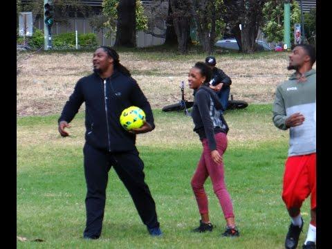 Marshawn Lynch goes kickball beastmode
