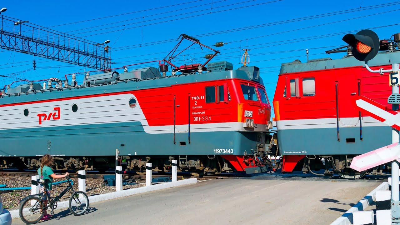 RAILWAY RUSSIAN RAILROAD CROSSING The LONGEST WAIT in the WORLD/САМОЕ ДОЛГОЕ ОЖИДАНИЕ на ЖД ПЕРЕЕЗДЕ
