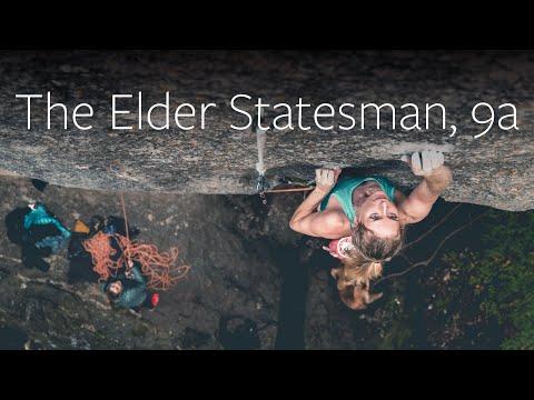 Matilda Söderlund climbing The Elder Statesman 9a