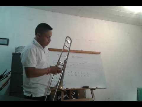 Posiciones del trombon de varas y escala de Bb mayor.