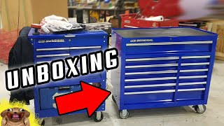 Unboxing HARBOR FREIGHT - U.S. GËNERAL 44 IN. X 22 IN. DOUBLE BANK TOOLBOX/CABINET