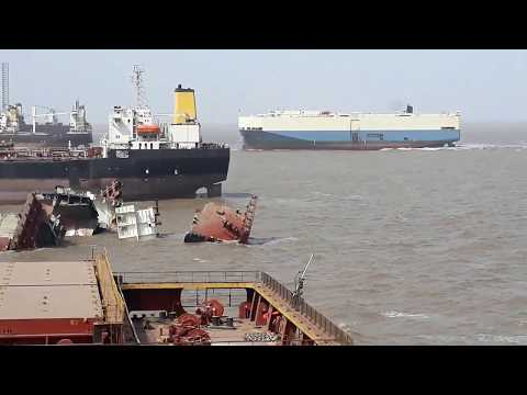 Roll On / Roll Off(RO-RO) Ship Arrival For Break At Alang Ship Breaking And Recycling Yard.