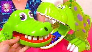Динозавр и крокодил Челлендж играем в игру с родителями детские развлечения Kids crocodile Challenge