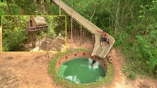 Build The Most Tree House And Water Slide To Pool Underground