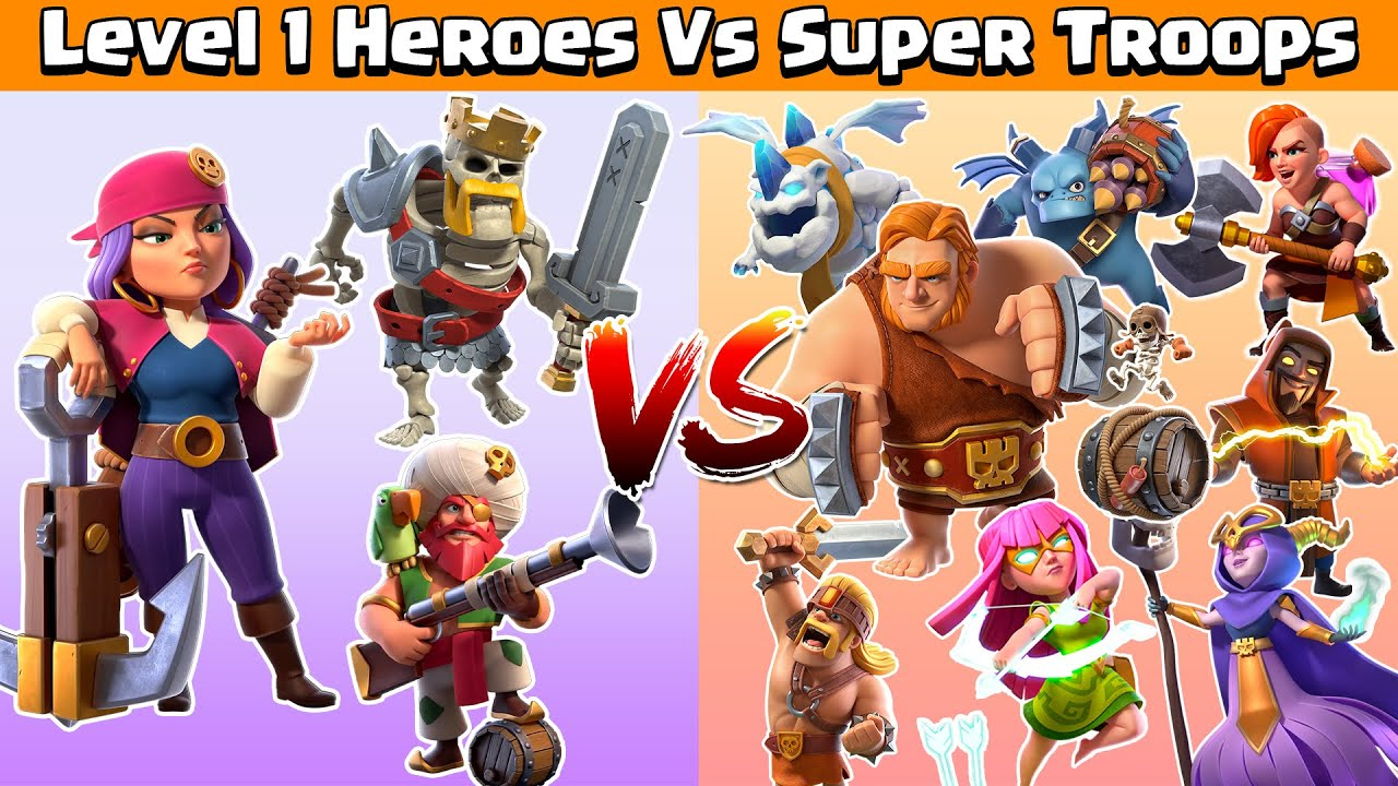 Level 1 Heroes Vs Max Super Troops | Clash of Clans | Coc