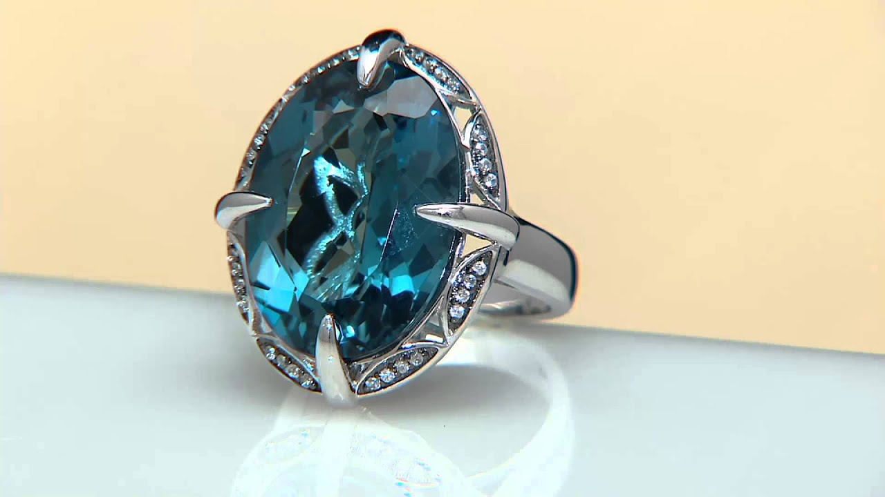 London Blue Topaz & White Zircon Sterling Silver Ring 26.00 ct tw on ...