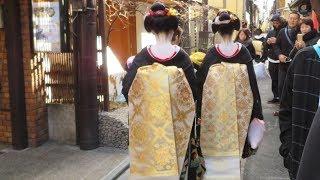2018年 京都先斗町と正装姿の舞妓さんと芸妓さん
