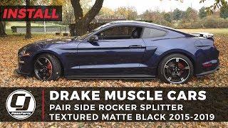 2015-2020 Mustang Install | Drake Muscle Cars Textured Side Rocker Splitters