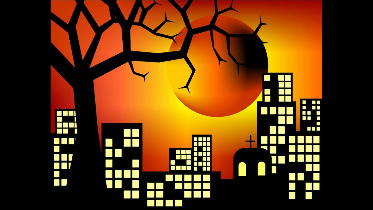 The City At Sunset Behind Tree Silhouette