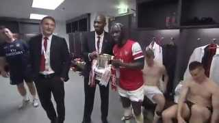 ARSENAL DRESSING ROOM CELEBRATION AFTER FA CUP VICTORY