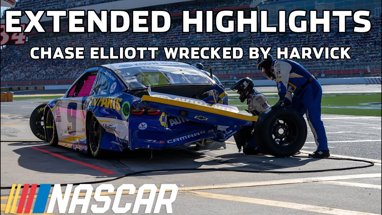 Kevin Harvick vs. Chase Elliott round 2 at the Roval   Extended Highlights   NASCAR Cup Series