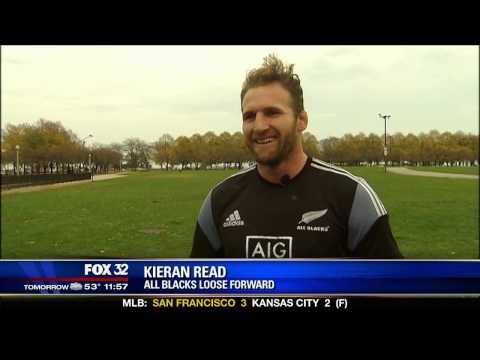 New Zealand All Blacks On Fox 32 Chicago News 10-29-14