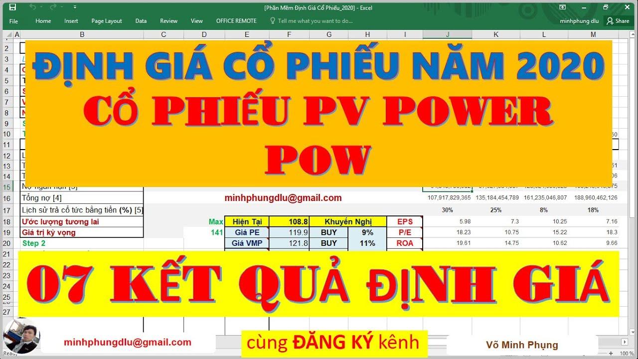 Cổ Phiếu POW (PV POWER) năm 2020    ĐỊNH GIÁ CỔ PHIẾU