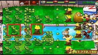 Plants vs Zombies Threepeater + Torchwood vs 999 Zombies