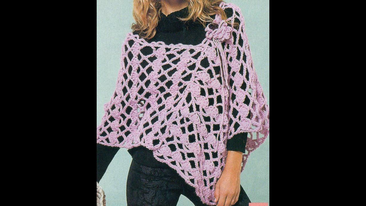 Patrón Para Tejer Poncho Rosa Calado a Crochet - YouTube