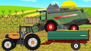 ☻ Maize - Farmers Works | Rolnik i Kukurydza | Rolnicy Bajka Dla Dzieci Kombajn Zielony  ☻