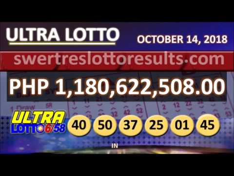 PCSO LOTTO RESULTS OCTOBER 14 2018 9PM Major Draw - 6/58 result w/ jackpot of 1.18Billion - YouTube