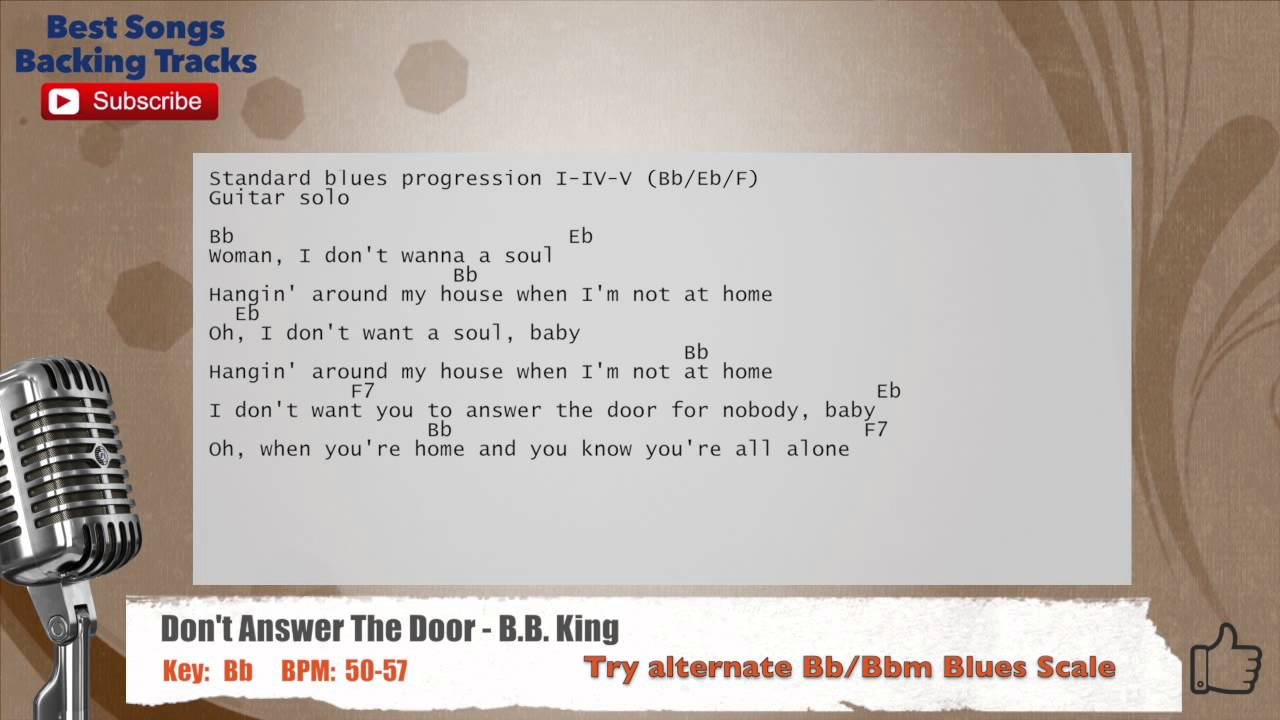 Donu0027t Answer The Door - B.B. King Vocal Backing Track with chords and lyrics & Donu0027t Answer The Door - B.B. King Vocal Backing Track with chords ...