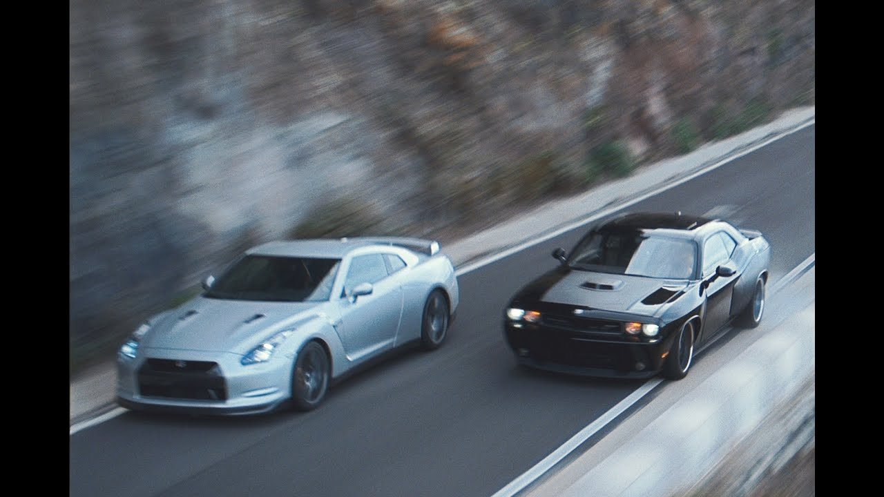 dom vs brian - dodge challenger vs nissan gtr - fast & furious 6 in
