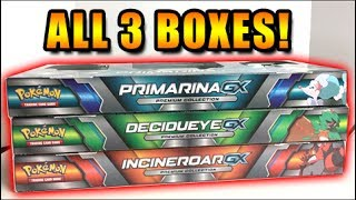 FIRST BOX MAGIC! - OPENING ALL 3 DECIDUEYE GX, INCINEROAR GX and PRIMARINA GX POKEMON CARDS BOXES!