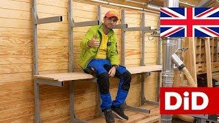 912. Massive, heavy duty steel wood shelving system