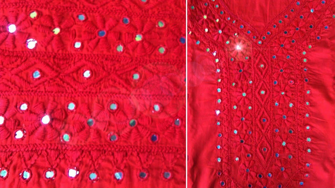 Gorgeous hand embroidery dress design and mirror stitching very  easy way(হাতের কাজের জামার ডিজাইন)