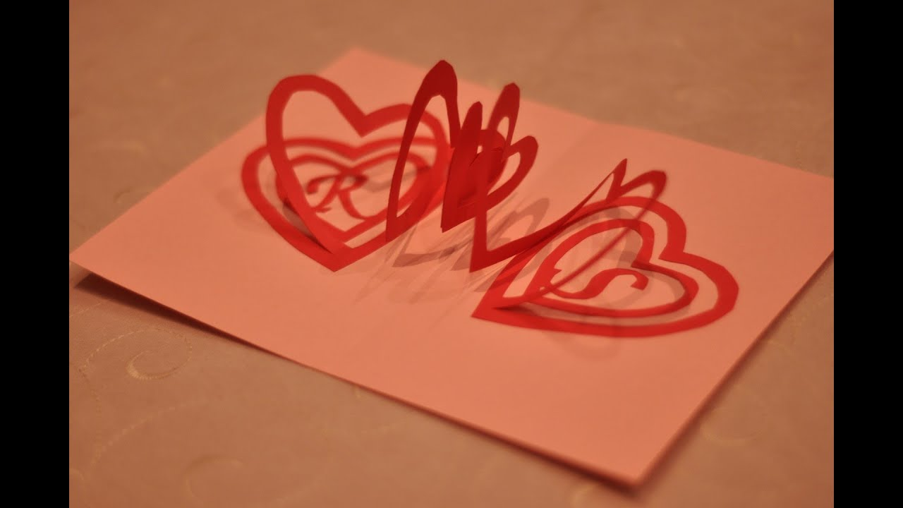 How to make a Valentines Day Pop Up Card Spiral Heart YouTube – Pop Up Valentines Day Card