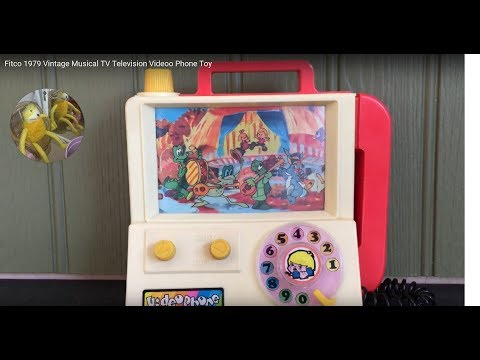 1970's Vintage Musical TV Television Fitco Video Phone Toy Plays It's a Small Small World Music
