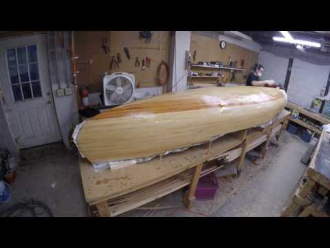 The Three Week Strip Canoe Build, Part 9, Fiberglassing the outer hull.
