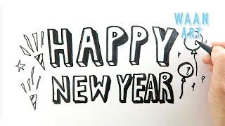 Typography Happy New Year เขียนสวัสดีปีใหม่