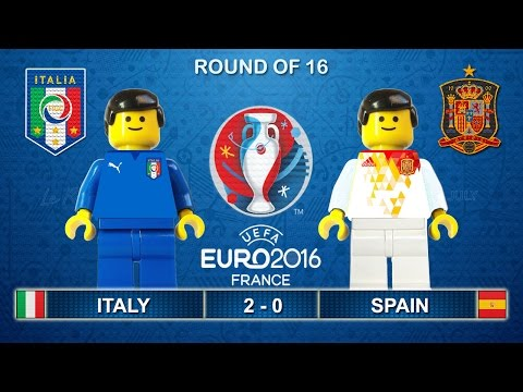Euro 2016 - Italy vs Spain 2-0 Lego Football Goals and Highlights ( Italia - Spagna )