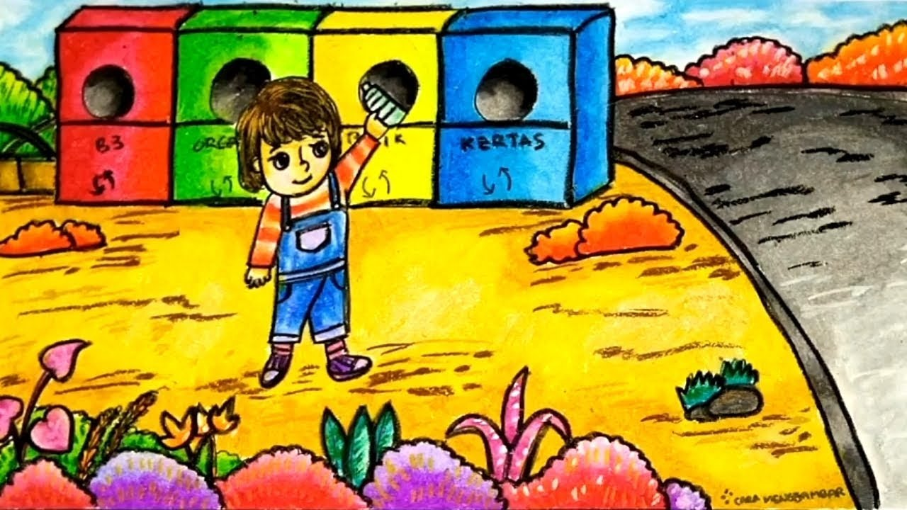 Cara Menggambar Tema MENJAGA KEBERSIHAN LINGKUNGAN Dengan Gradasi Warna Crayon Oil Pastel