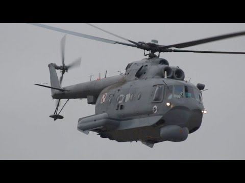 Mil Mi-14PL Polish NAVY Submarine hunting Helicopter departure RIAT 2015 AirShow
