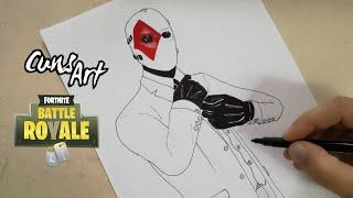 COMO DIBUJAR LA SKIN COMODIN | FORTNITE | how to draw wild card skin