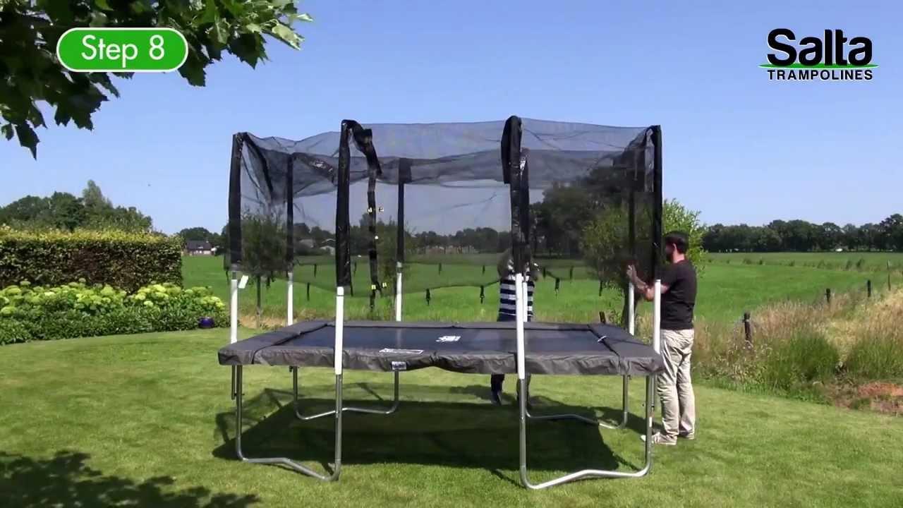 salta rechthoekige trampoline met veiligheidsnet opbouwinstructies youtube. Black Bedroom Furniture Sets. Home Design Ideas