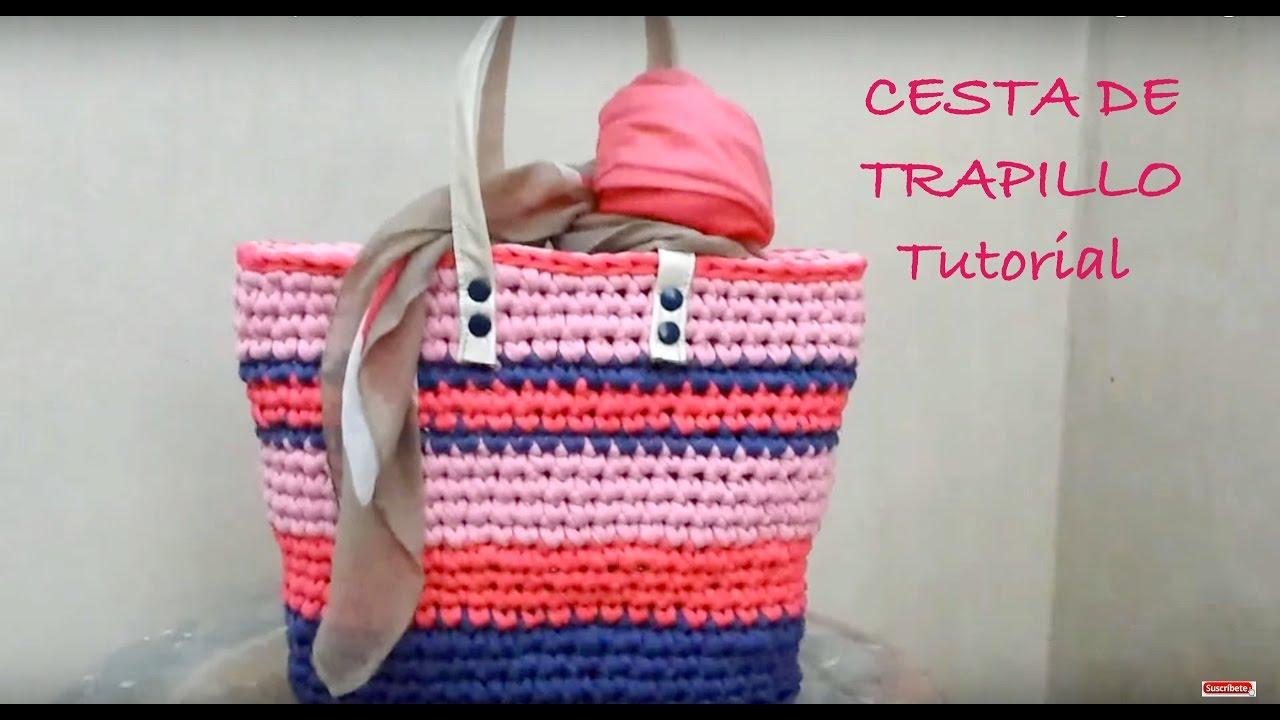 3edf9309e Cesta de colores a Trapillo ¡¡ TUTORIAL DIY !! Paso a Paso - YouTube