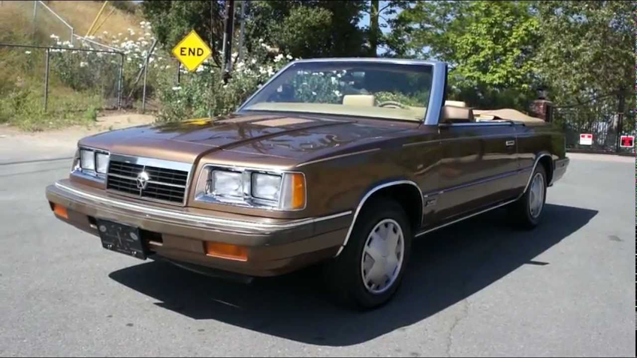 1986 Dodge 600 K Car Turbo Convertible Coupe Youtube