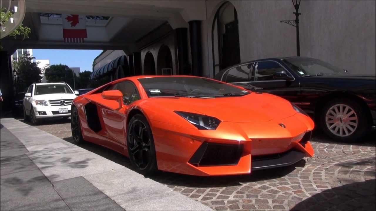 Orange Lamborghini Aventador: ORANGE Lamborghini Aventador In Beverly Hills!