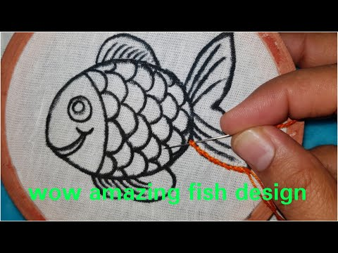 Hand Embroidery Fish Bullion Knot Amazing Stitch Work All Over Embroidery Design (2019)Hand Trick