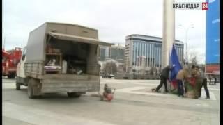 Увеличенную копию Знамени Победы поднимут на флагшток в центре Краснодара 9 мая(Главный флаг Кубани, который находится на Театральной площади Краснодара, сегодня спустили., 2015-03-13T22:05:53.000Z)