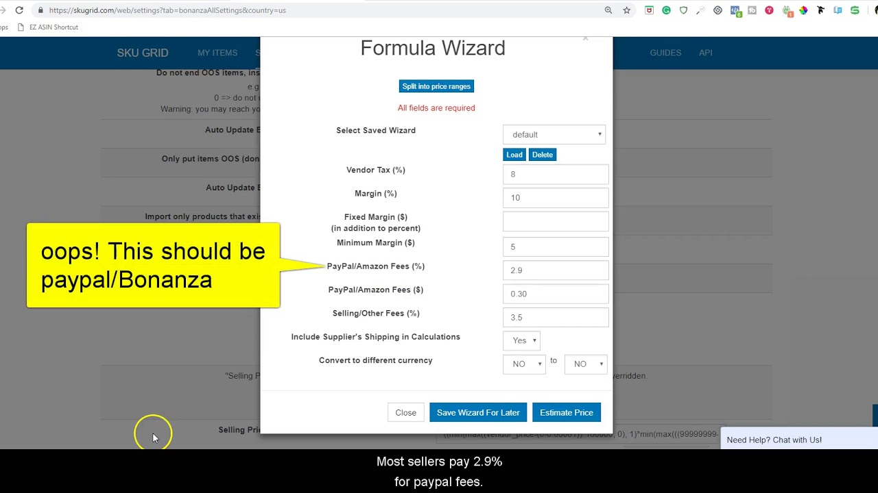 Sku Grid for Bonanza Sellers: How to Set Up Your Bonanza Default Formula in  Dollar Amounts
