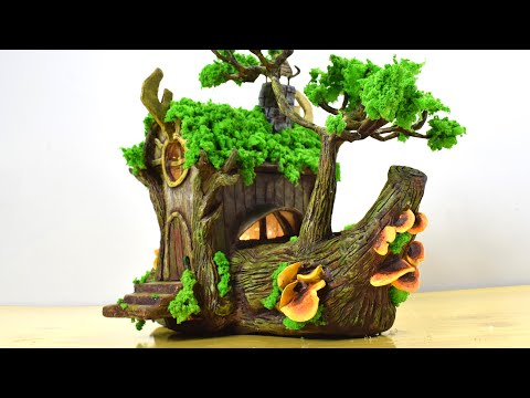 DIY Log Fairy House Using Cardboard Box | Paper Clay Tutorial